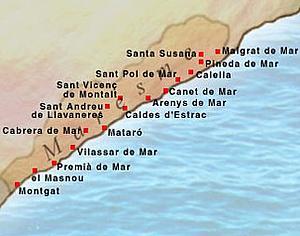 Карта Коста Маресме