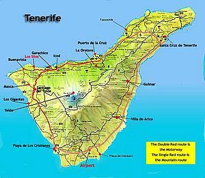 Карта Тенерифе. Канарские острова. Испания