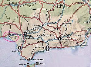 Карта. Уэлва. Испания