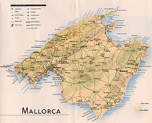 Карта Майорки. Испания