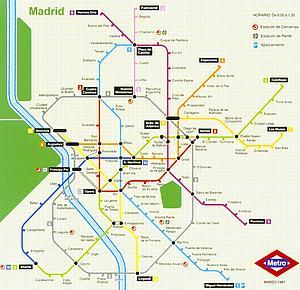 Карта метрополитена Мадрида. Испания