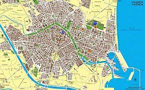 Карта города Валенсии. Испания