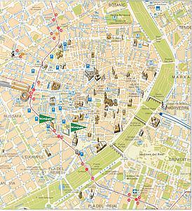 Карта центра Валенсии. Испания