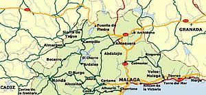 Карта автодорог Малаги. Испания